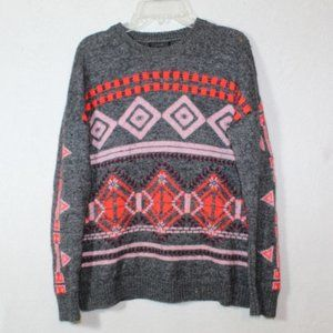 J.Crew gray fair isle wool blend geometric sweater